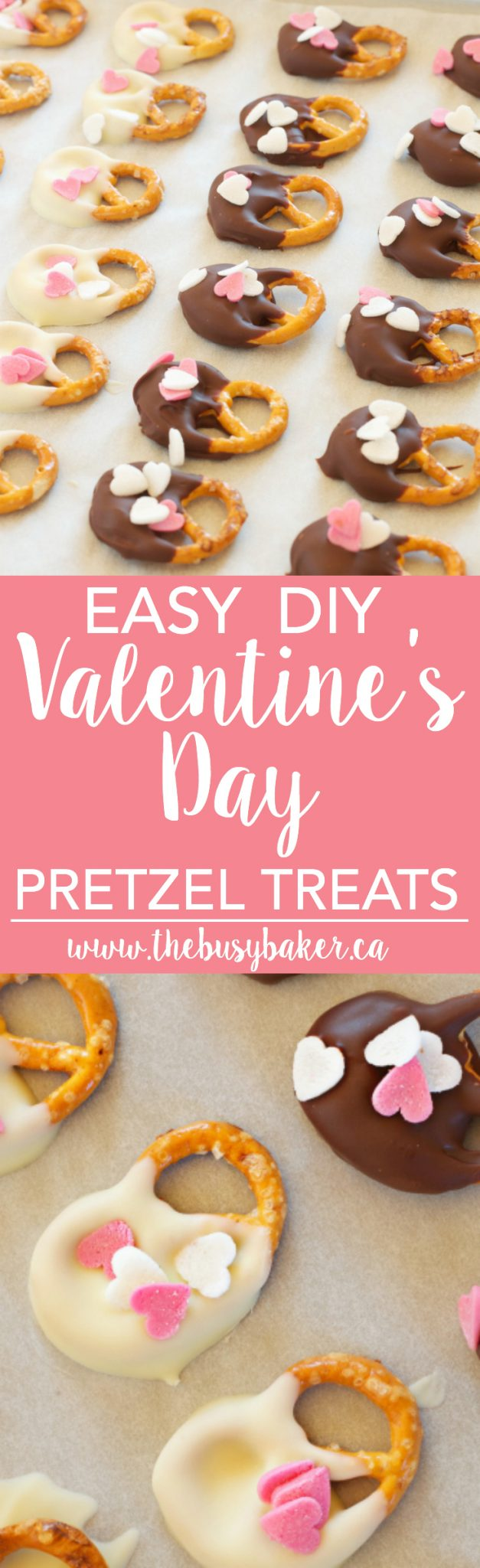 These Easy DIY Valentine's Day Pretzel Treats are the perfect easy homemade treats for Valentine's Day! Recipe from thebusybaker.ca! via @busybakerblog