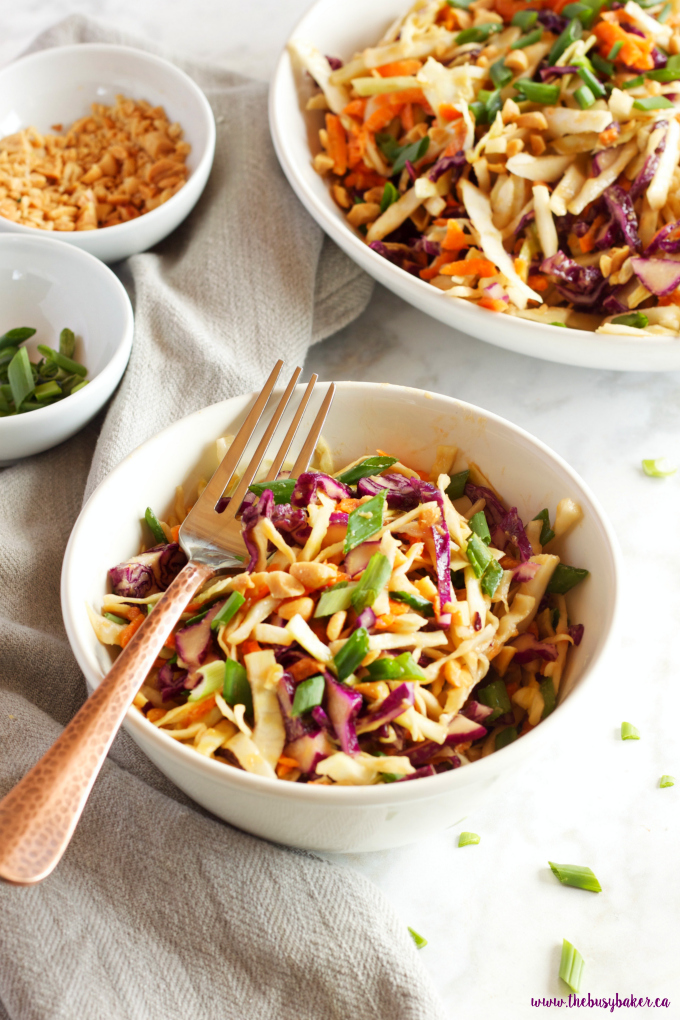 This Asian Cabbage Salad with Ginger Peanut Dressing is a healthy, easy to make Thai inspired side dish made from simple, wholesome ingredients! Recipe from thebusybaker.ca!