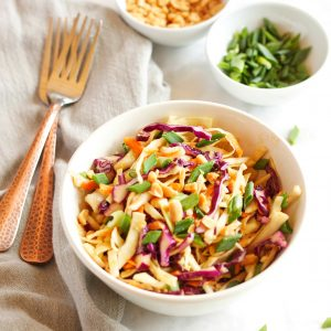 This Asian Cabbage Salad with Ginger Peanut Dressing is a delicious and light Thai-inspired side dish! Recipe from thebusybaker.ca!