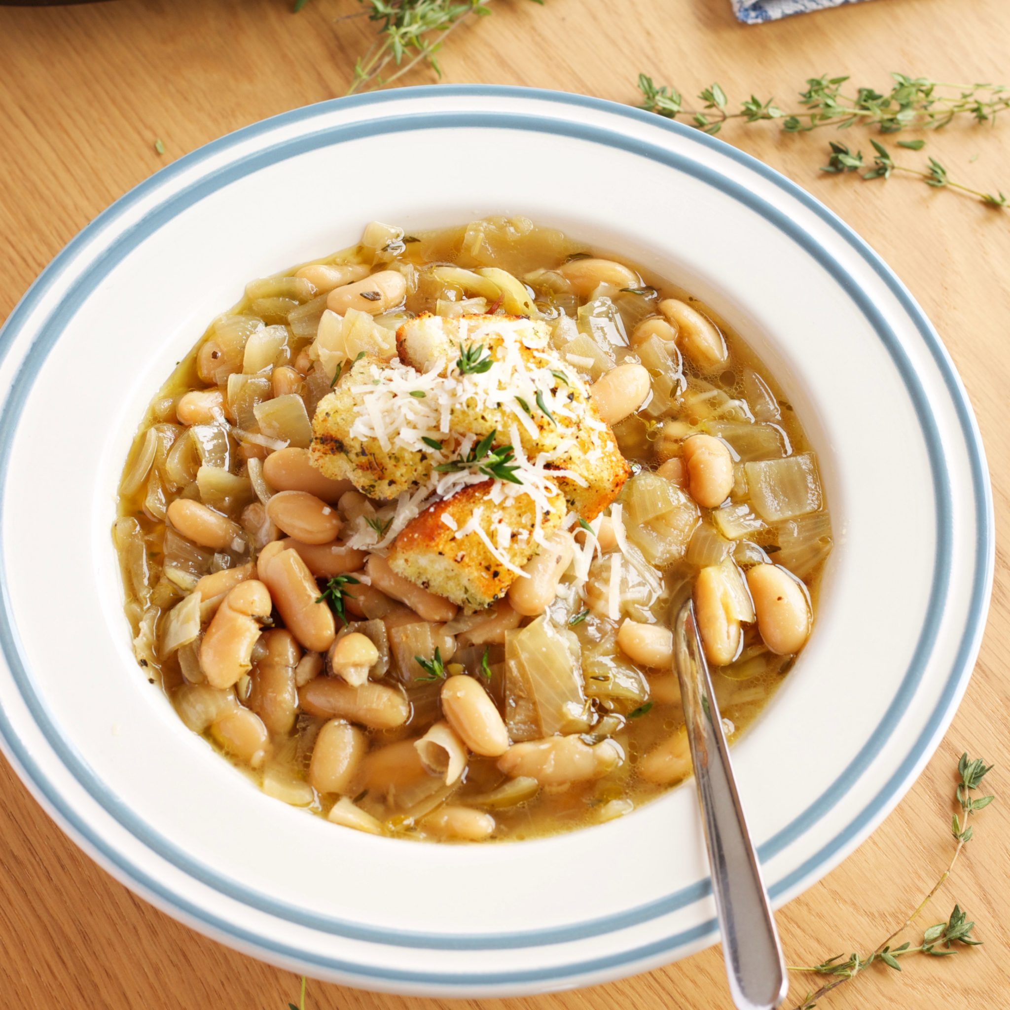 Crock pot french onion soup with white beans the busy baker sisterspd