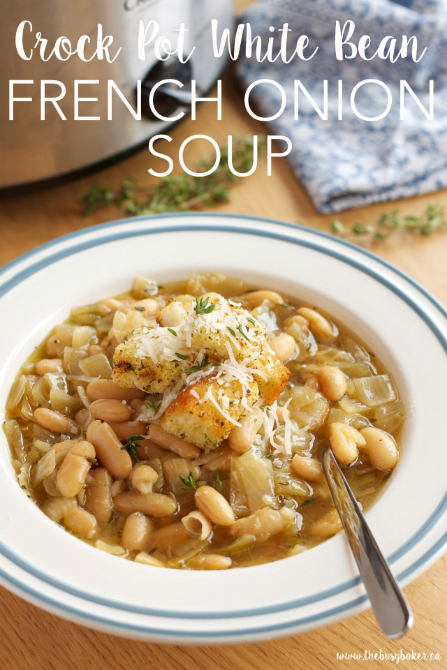 Crock Pot French Onion Soup With White Beans in Bowl