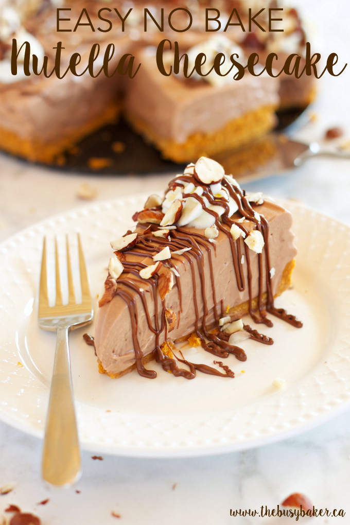 This Easy No Bake Nutella Cheesecake is the perfect easy dessert recipe for Nutella lovers! Recipe from thebusybaker.ca!
