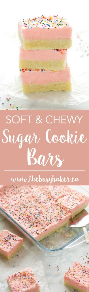 These Soft and Chewy Sugar Cookie Bars are the perfect kid-friendly dessert made with a tender sugar cookie base topped with fluffy frosting and sprinkles! Recipe from thebusybaker.ca!