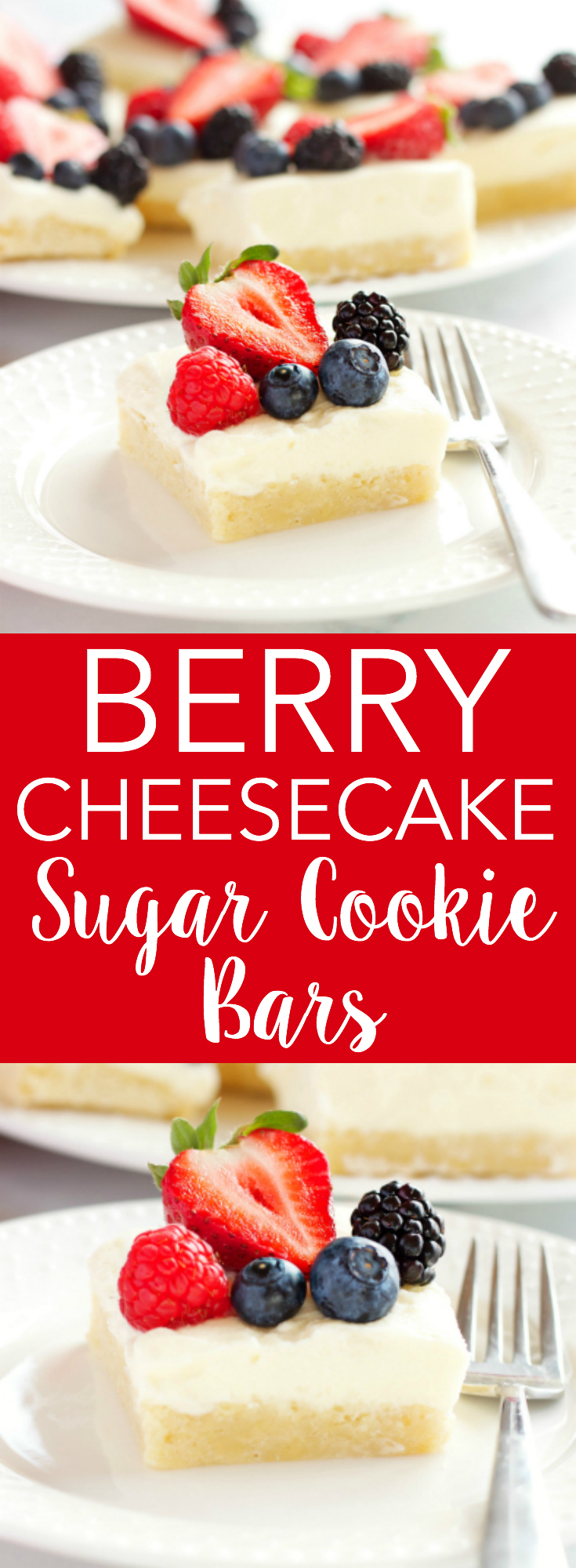 These Berry Cheesecake Sugar Cookie Bars make the perfect dessert for spring and summer featuring a cookie base, creamy cheesecake and fresh berries! Recipe from thebusybaker.ca! via @busybakerblog