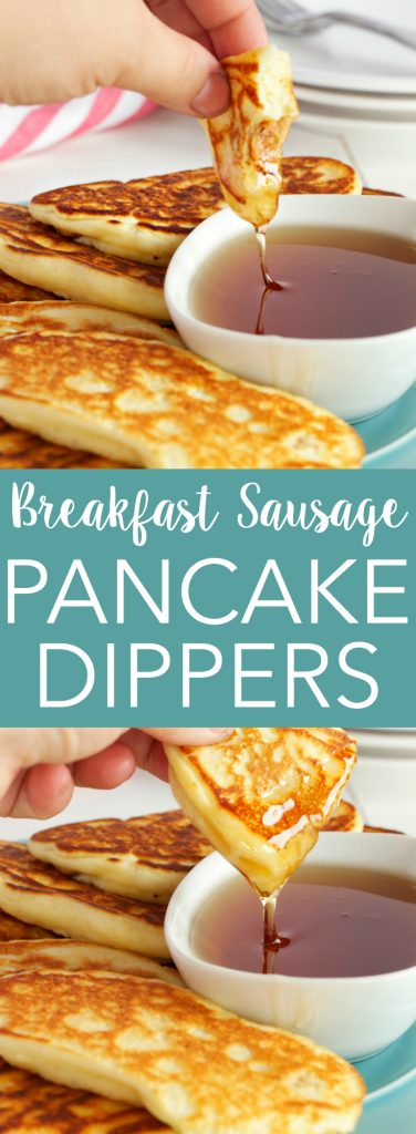 These Breakfast Sausage Buttermilk Pancake Dippers are the perfect breakfast finger food! Recipe from thebusybaker.ca!