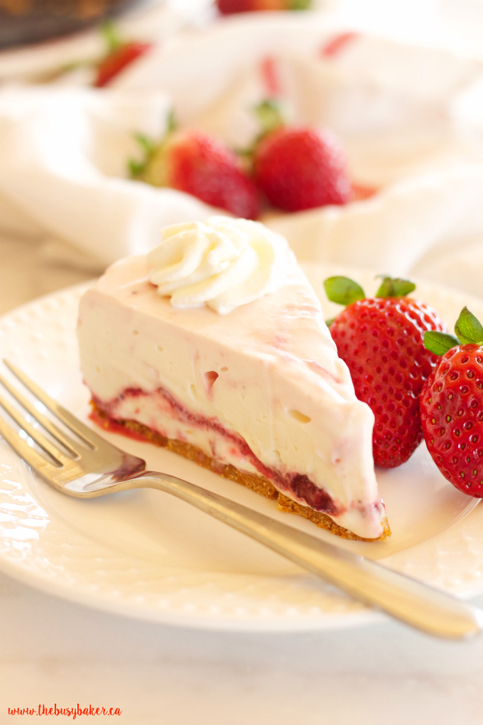 This Easy No Bake Strawberry Swirl Cheesecake is a delicious, easy to make, creamy and smooth dessert for spring and summer! And it's gelatin-free! Recipe from thebusybaker.ca!