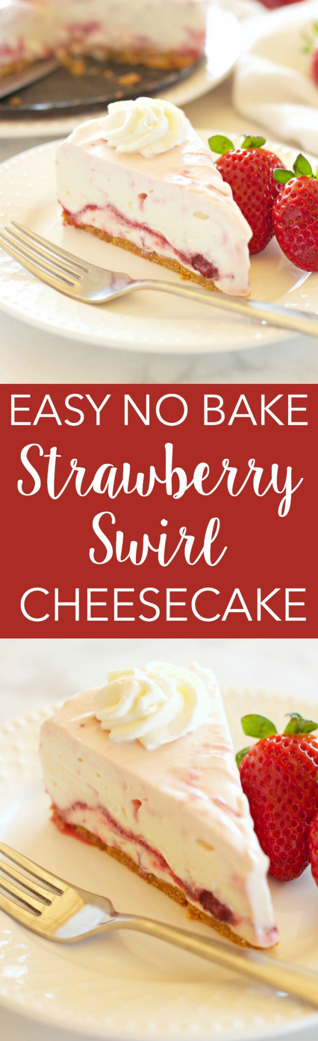 This Easy No Bake Strawberry Swirl Cheesecake is a delicious, easy to make, creamy and smooth dessert for spring and summer! And it's gelatin-free! Recipe from thebusybaker.ca! via @busybakerblog