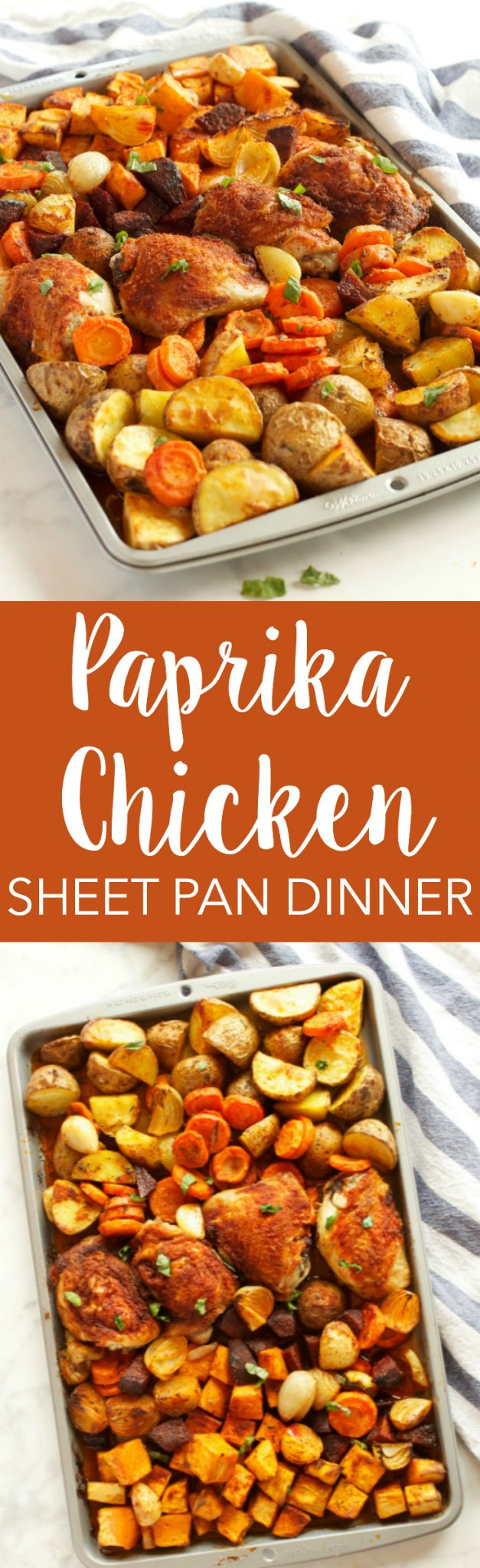 This Paprika Chicken Sheet Pan Dinner is an easy, healthy weeknight meal for the whole family that's on the table in 30 minutes or less! Recipe from thebusybaker.ca! via @busybakerblog