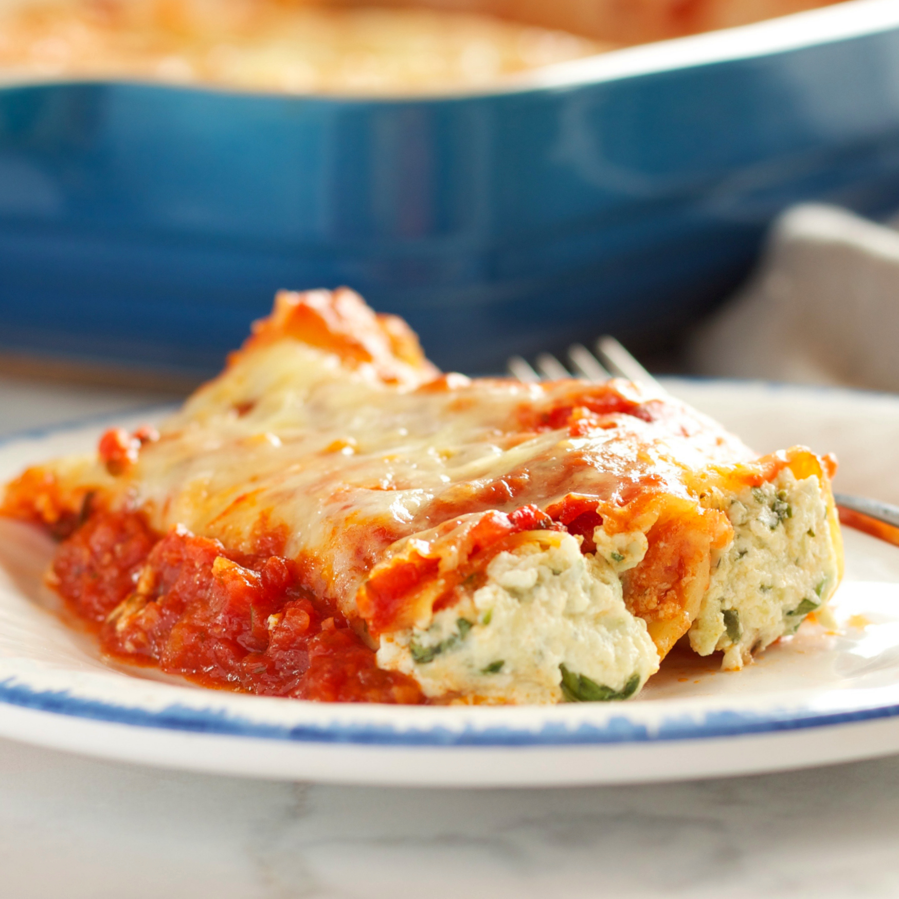 Baked Ricotta And Spinach Cannelloni (Manicotti Pasta