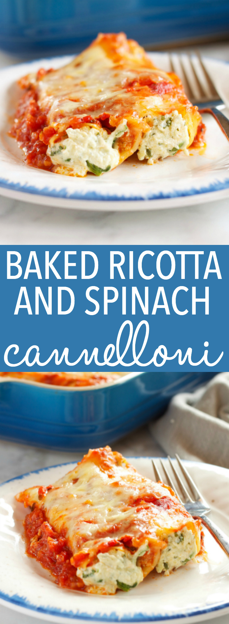 This Baked Ricotta and Spinach Cannelloni (Manicotti Pasta) is made with three delicious cheeses and it's the perfect easy comfort food recipe that's also vegetarian! It's a pasta lover's dream recipe! Recipe from thebusybaker.ca! via @busybakerblog