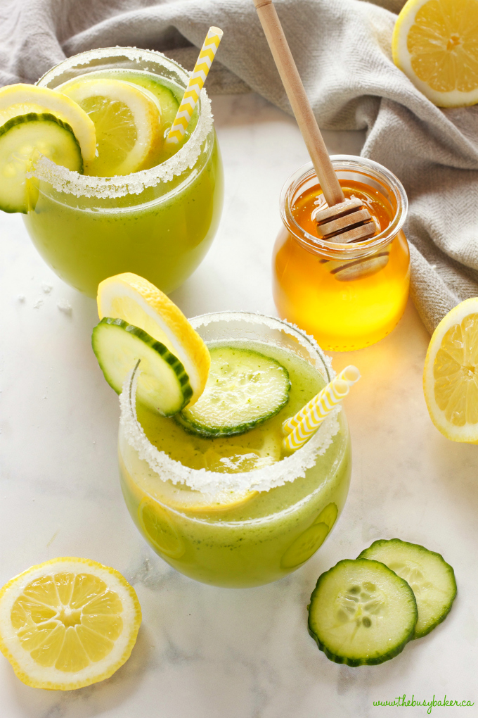 This Healthy Cucumber Lemonade is the perfect naturally-sweetened summer drink made from blended cucumbers, fresh lemon juice and honey! Get this easy summer recipe at thebusybaker.ca!