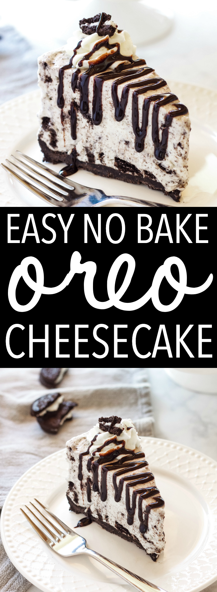 This Easy No Bake Oreo Cheesecake is smooth and creamy - it's the perfect cheesecake recipe and it's SO easy to make! Recipe from thebusybaker.ca! via @busybakerblog