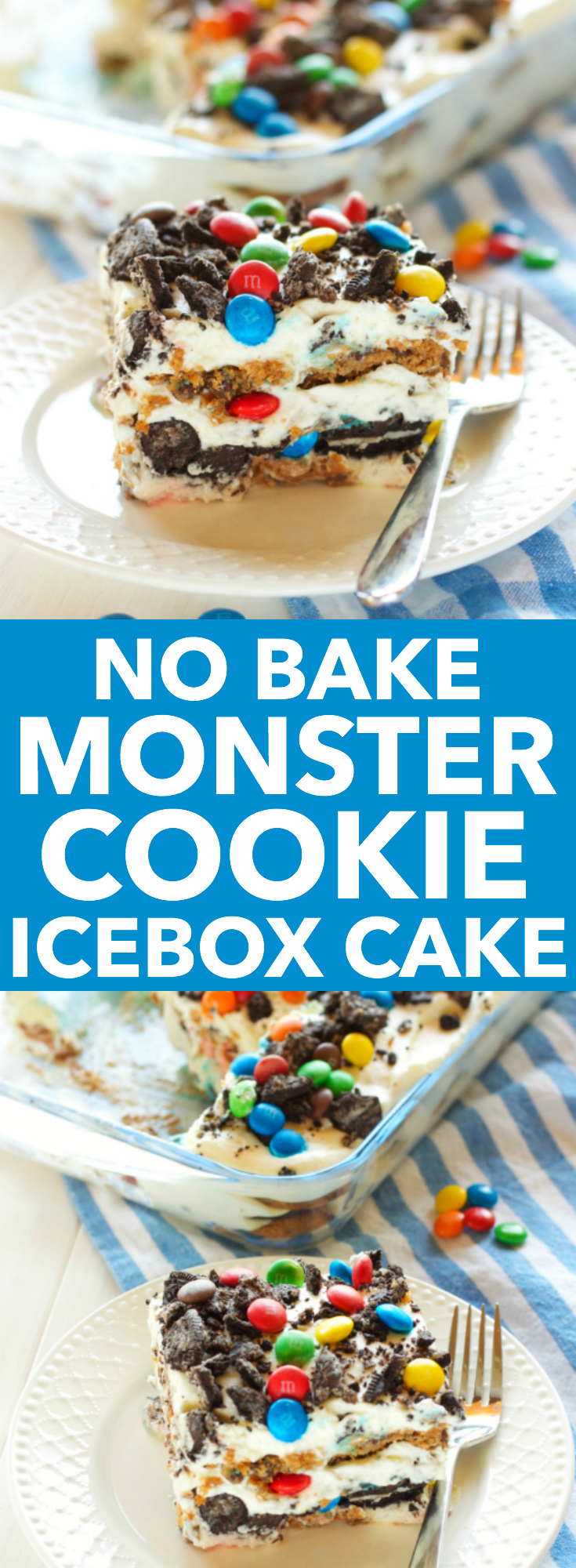 This No Bake Monster Cookie Icebox Cake is easy to make and kid-friendly, featuring cookies, candy coated chocolate, and a sweet, creamy filling! Recipe from thebusybaker.ca!