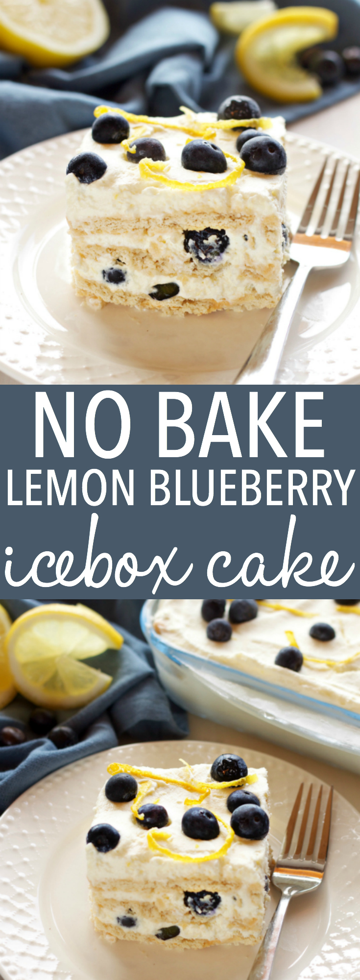This No Bake Lemon Blueberry Icebox Cake is the perfect summer dessert made from only 5 simple ingredients, featuring a creamy, sweet lemon filling and fresh, juicy blueberries! Recipe from thebusybaker.ca! via @busybakerblog