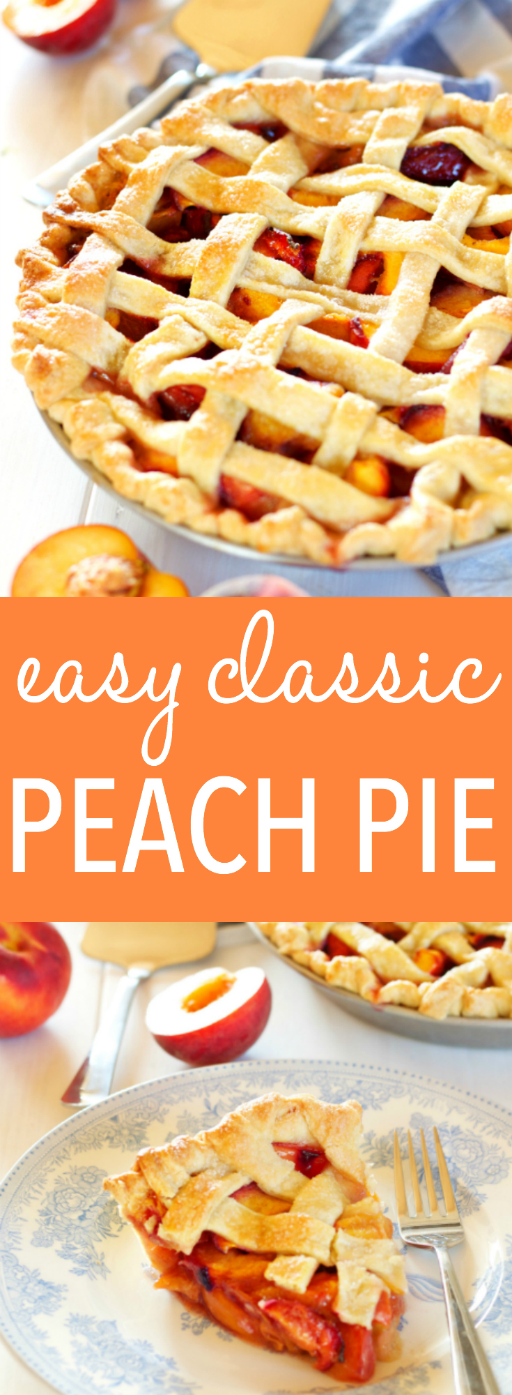 This Easy Classic Peach Pie recipe is simple and rustic, made with a butter crust and fresh peaches. Recipe includes my pro tips for the perfect pie every time! www.thebusybaker.ca via @busybakerblog
