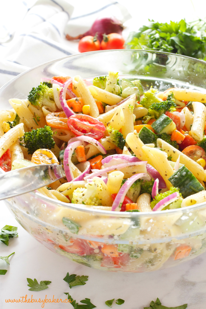 This Rainbow Vegetable Pasta Salad is packed with over 7 fresh vegetables, delicious pasta, and topped with an easy Creamy Italian Herb Dressing! Recipe from thebusybaker.ca
