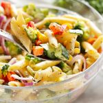 Rainbow Vegetable Pasta Salad with Creamy Italian Herb Dressing