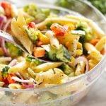 Rainbow Vegetable Pasta Salad with Creamy Italian Herb Dressing