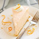 slice of Orange Creamsicle No Bake Cheesecake