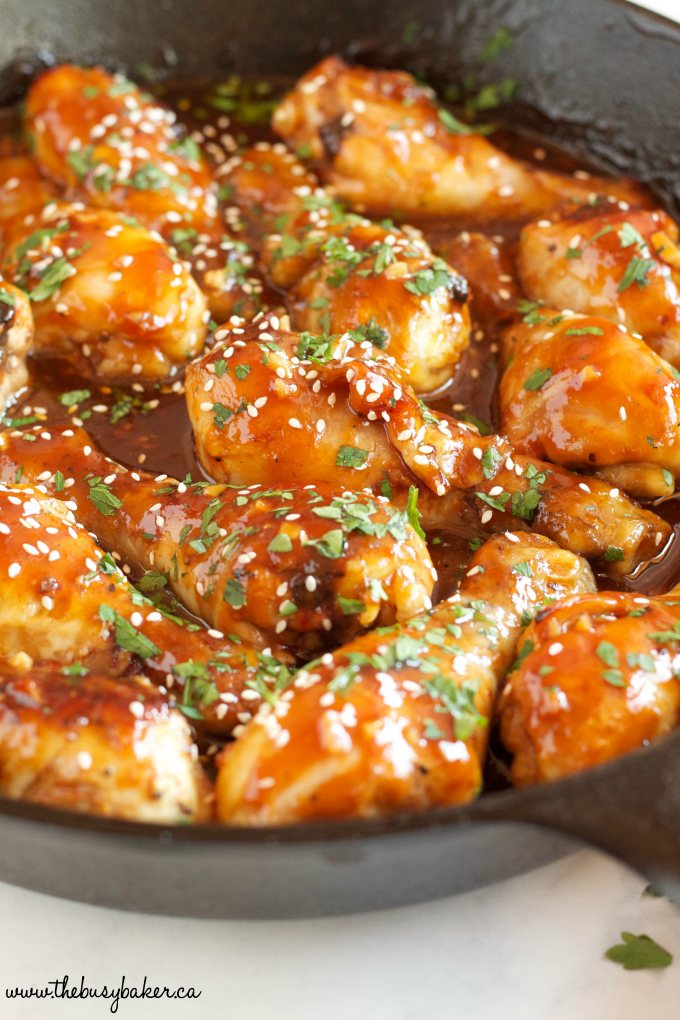 This One Pan Honey Garlic Chicken is an easy weeknight meal idea with a simple 5-ingredient sticky sauce, made all in one pan in less than 30 minutes! Recipe from thebusybaker.ca!
