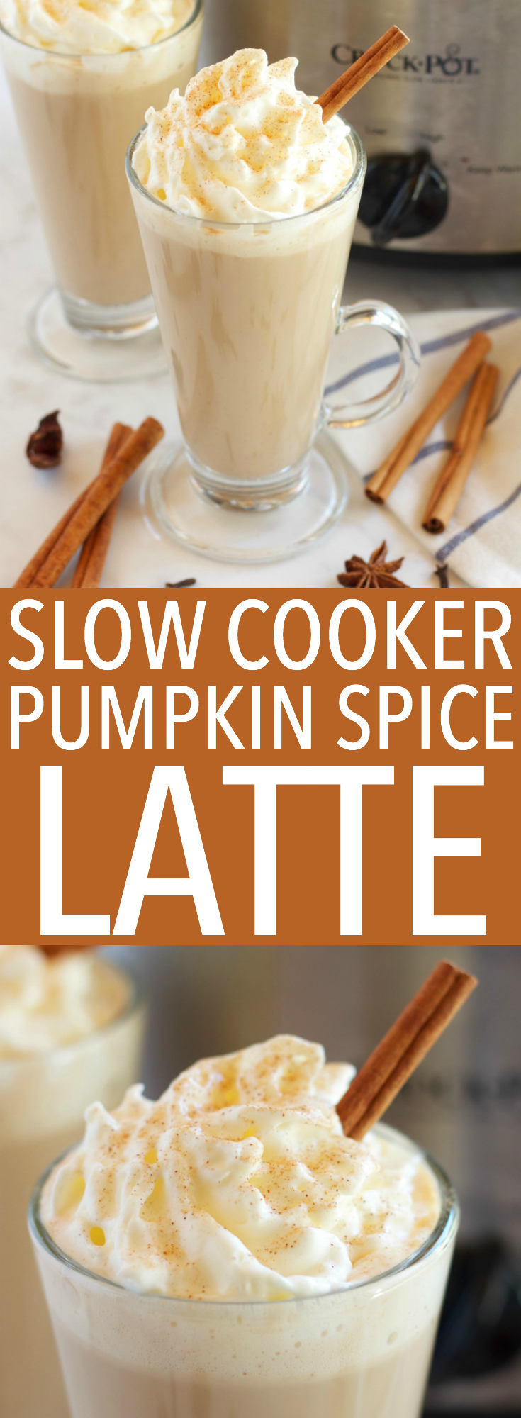 This Slow Cooker Pumpkin Spice Latte is a warm fall drink with pumpkin spice flavors, easy to make in the crock pot and perfect for parties! Recipe from thebusybaker.ca! via @busybakerblog