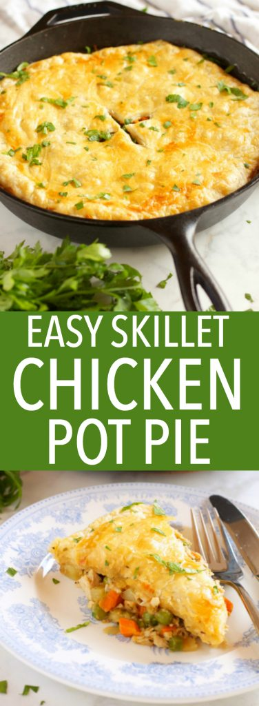 This Easy Skillet Chicken Pot Pie is the perfect comfort food for a weeknight family meal made from simple ingredients in just over 30 minutes! Recipe from thebusybaker.ca #comfortfood #easychickenrecipe