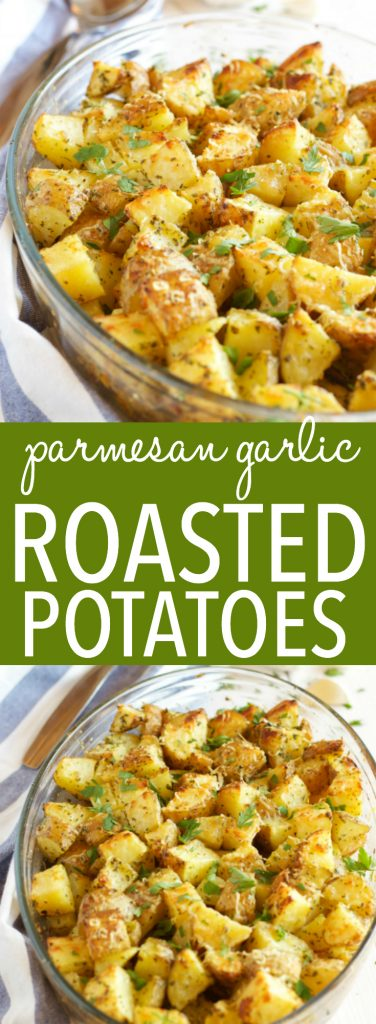 These Garlic Parmesan Oven Roasted Potatoes are an easy to make side dish made with only a few simple ingredients, perfect for the holidays or any time of year!! Recipe from thebusybaker.ca #holidaysidedish #holidayrecipe #thanksgiving #christmas