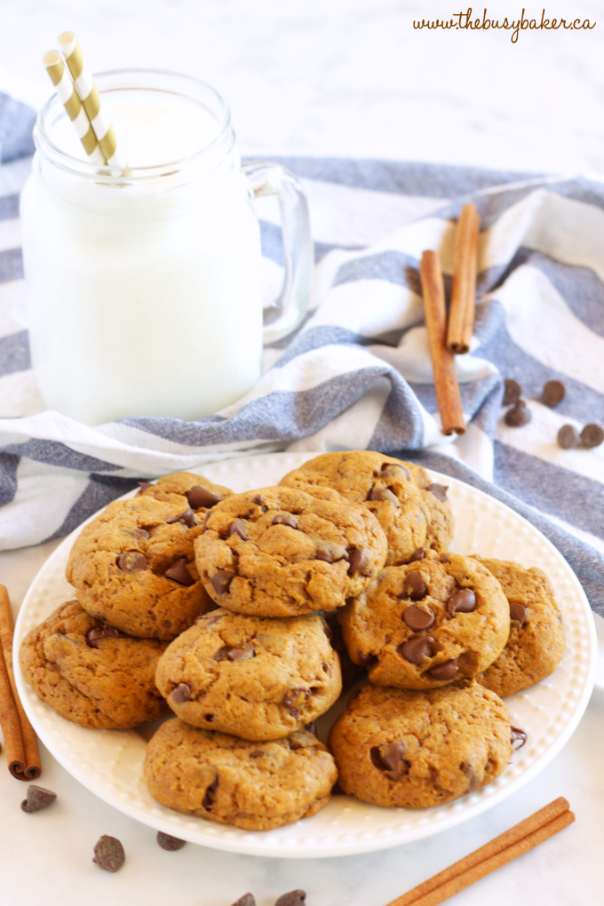 These Pumpkin Spice Chocolate Chip Cookies are perfectly soft and chewy, full of pumpkin and spice and delicious chocolate! Recipe from thebusybaker.ca!