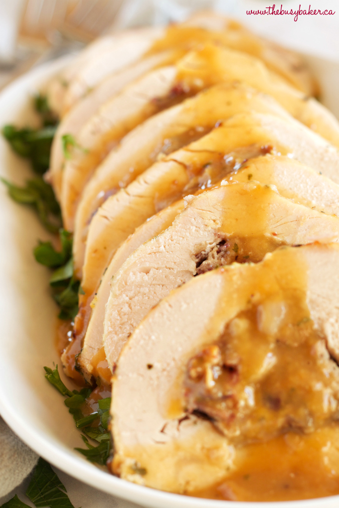 Roasted Turkey Breast with Cranberry Bacon Stuffing - The ...