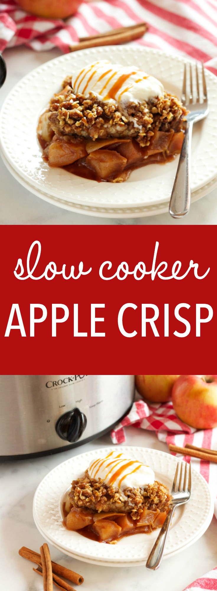 This Slow Cooker Apple Crisp recipe is an easy fall dessert made with fresh apples and a few basic pantry ingredients in the slow cooker or Crock Pot! Recipe from thebusybaker.ca! via @busybakerblog