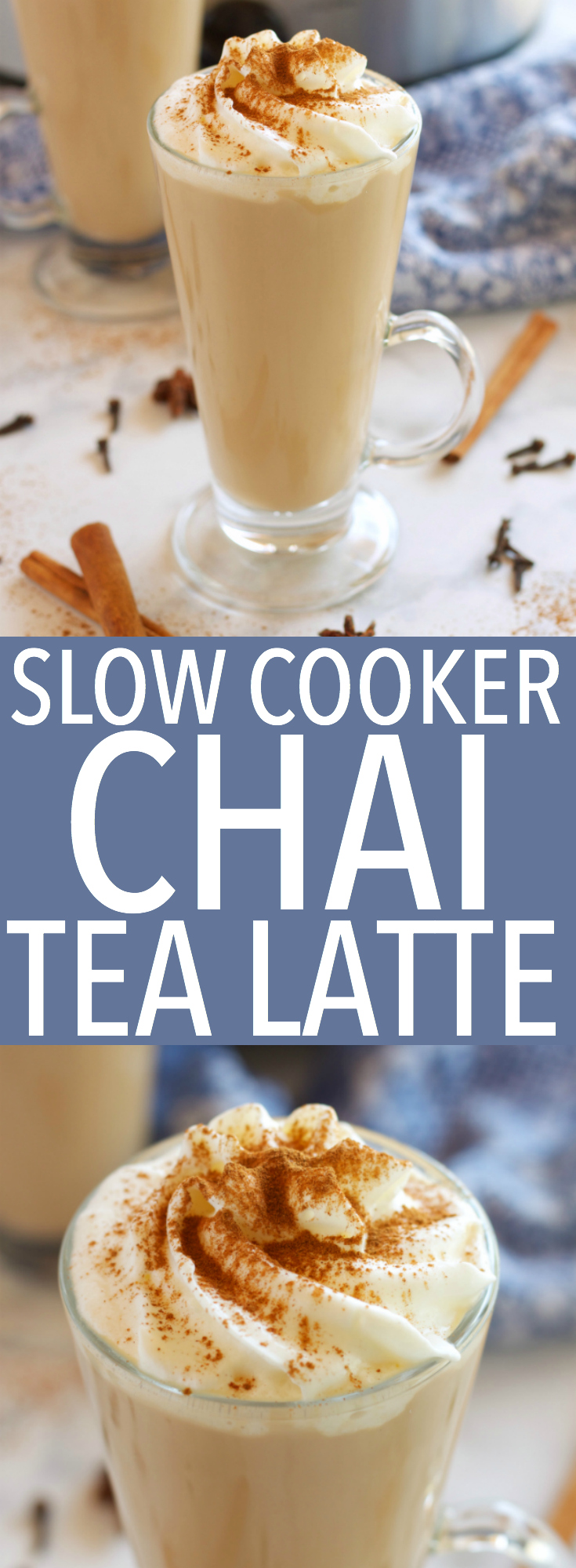 This Slow Cooker Chai Tea Latte is the perfect healthier warm drink for the holidays, and it's so easy to make with only a few simple ingredients! Recipe from thebusybaker.ca! #chailatte #homemadechailatte #slowcookerlatte #crockpotlatte via @busybakerblog