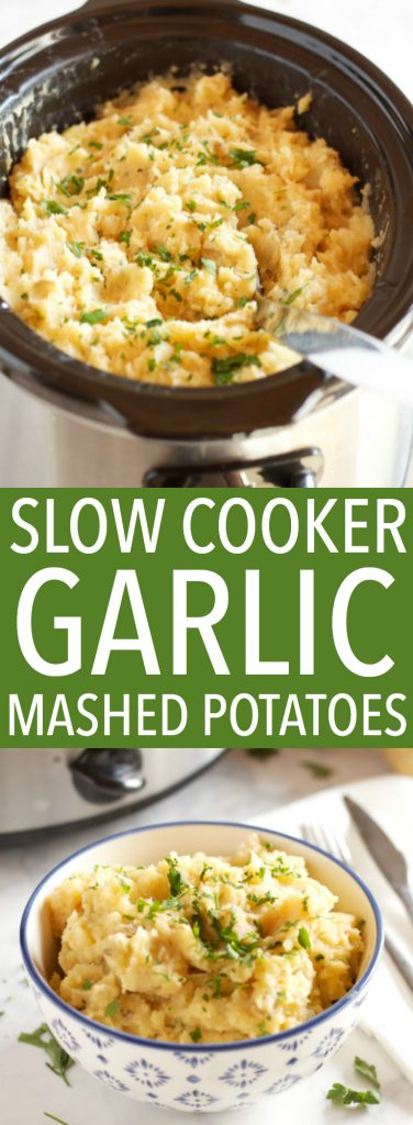 These Rustic Slow Cooker Garlic Mashed Potatoes are a delicious easy to make holiday side dish that's perfect for any holiday crowd! Recipe from thebusybaker.ca! #holidaysidedish #holidaymashedpotatoes #christmassidedish