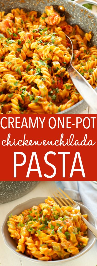 This Creamy One-Pot Chicken Enchilada Pasta is the perfect easy weeknight family meal made with simple ingredients in 30 minutes or less! Recipe from thebusybaker.ca! #easyfamilymeal #familymeal #weeknightmeal #onepotpasta #enchiladapasta