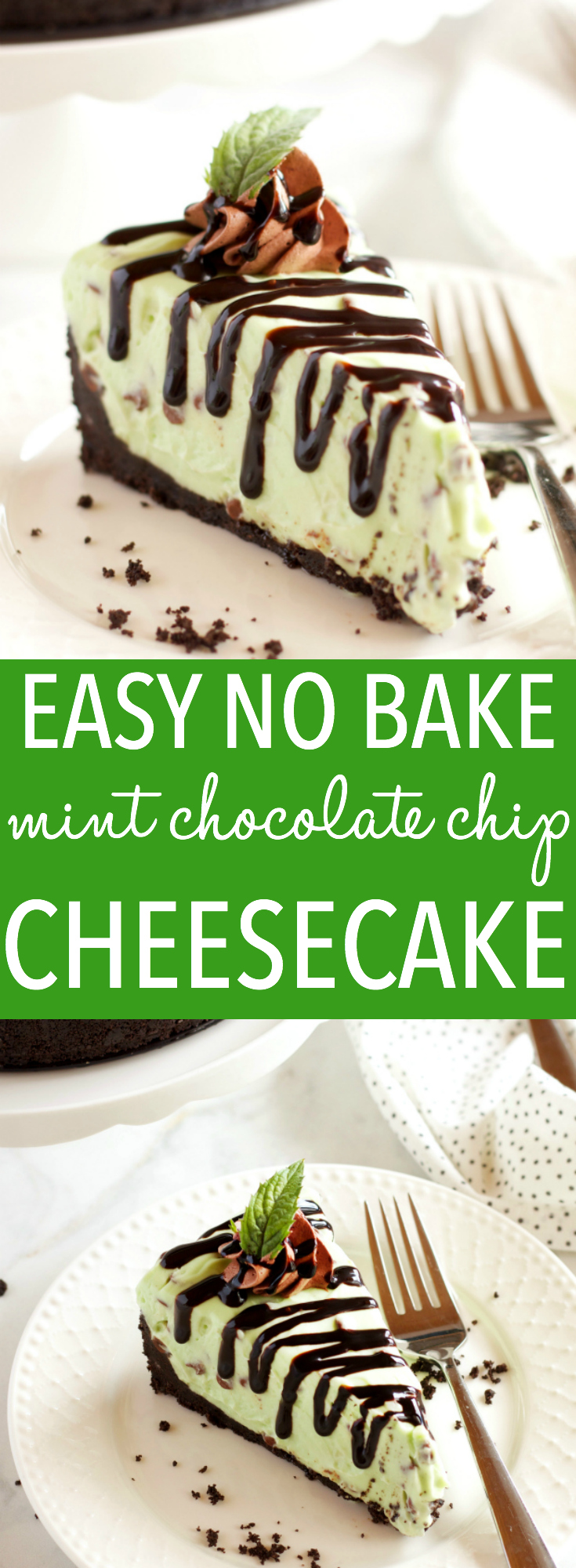 This Easy No Bake Mint Chocolate Chip Cheesecake is ultra creamy, flavored with mint and chocolate, and so easy to make with only a few ingredients! Recipe from thebusybaker.ca! #holidaydessert #easydessert #nobakecheesecakerecipe via @busybakerblog