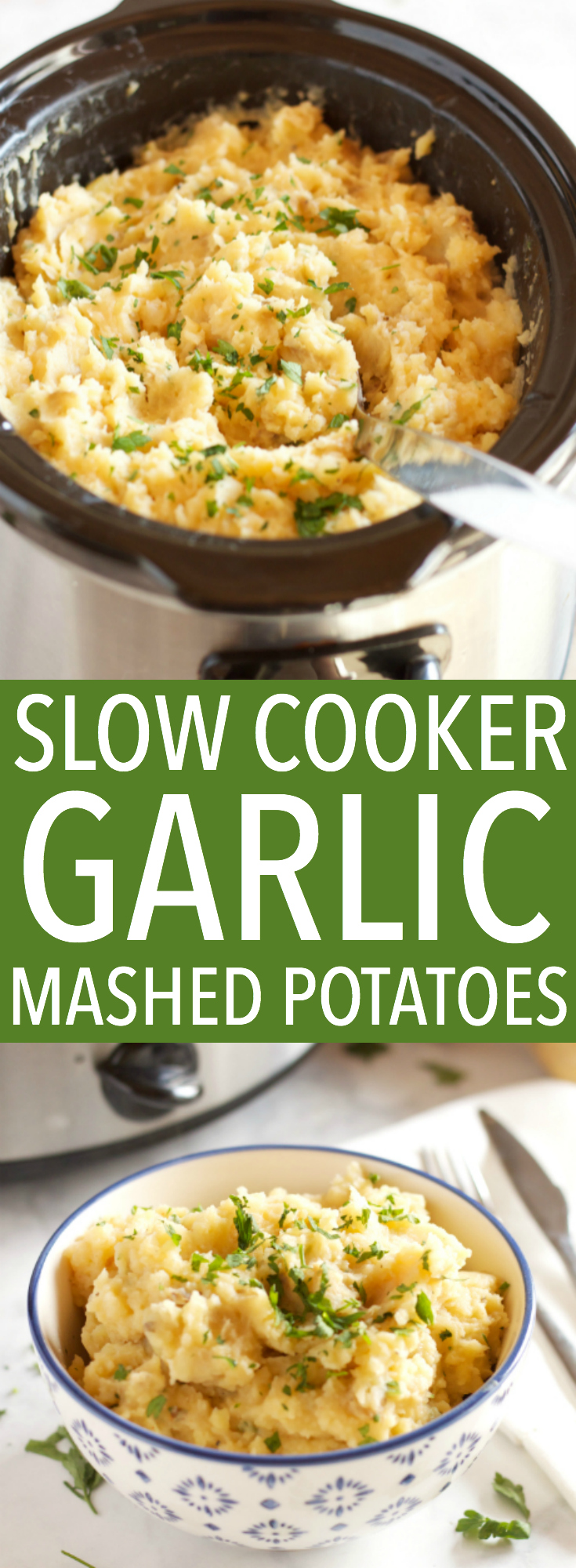 These Rustic Slow Cooker Garlic Mashed Potatoes are a delicious easy to make holiday side dish that's perfect for any holiday crowd! Recipe from thebusybaker.ca! #holidaysidedish #holidaymashedpotatoes #christmassidedish via @busybakerblog