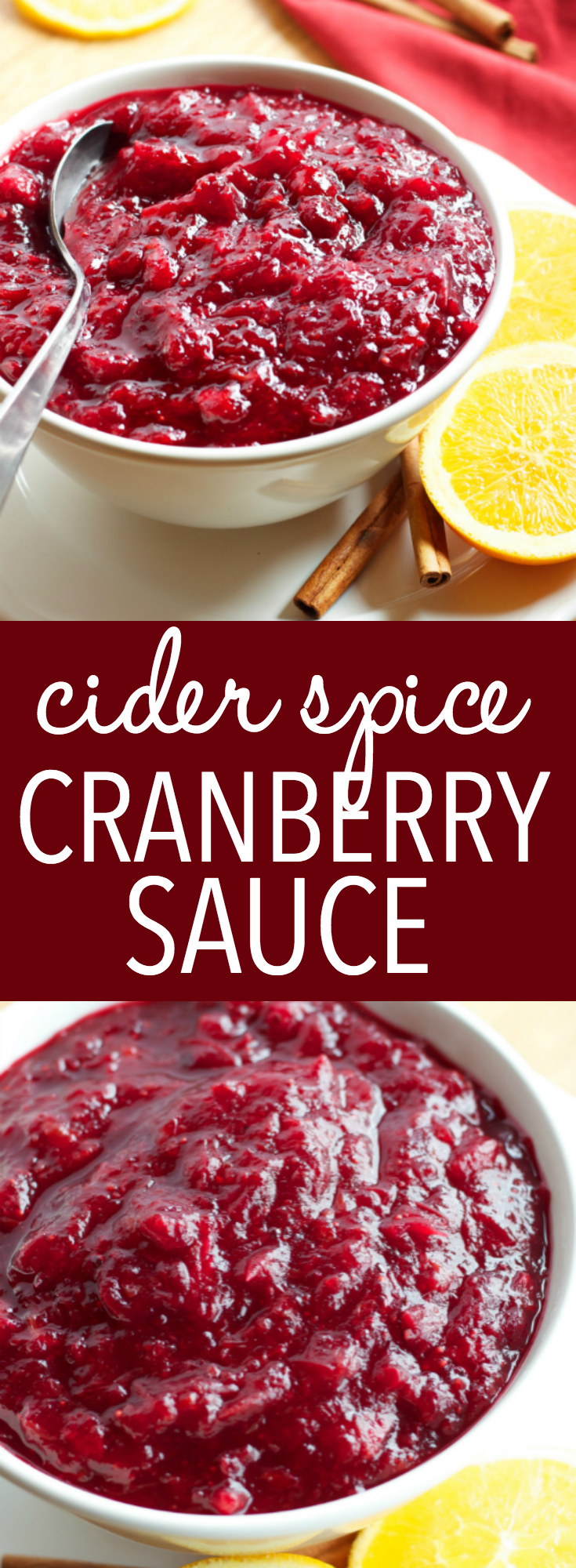 This Cider Spice Cranberry Sauce is an easy to make homemade cranberry sauce recipe with the flavors of mulled cider. Perfect for Christmas dinner! Recipe from thebusybaker.ca! #cranberrysauce #homemadecranberrysauce #easycranberrysauce via @busybakerblog