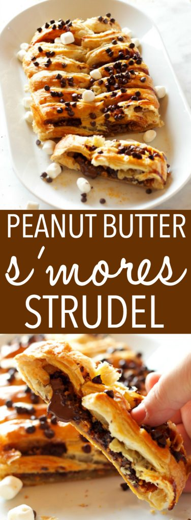 This Easy Peanut Butter S'Mores Strudel is an easy recipe that makes the perfect breakfast or treat - made with only a few simple pantry ingredients! Recipe from thebusybaker.ca! #smores #homemadestrudel #smoresdessert #easybreakfast