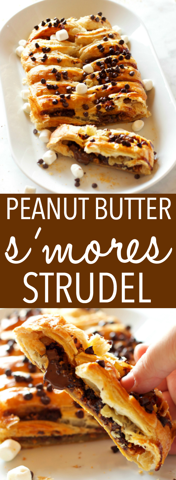 This Easy Peanut Butter S'mores Strudel is an easy recipe that makes the perfect breakfast or treat - made with only a few simple pantry ingredients! Recipe from thebusybaker.ca! #smores #homemadestrudel #smoresdessert #easybreakfast via @busybakerblog