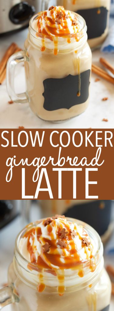 This Slow Cooker Gingerbread Latte is the perfect easy to make hot drink for the holidays, and it tastes even better than Starbucks Gingerbread Latte! Recipe from thebusybaker.ca #starbucksgingerbreadlatte #starbuckscopycat #starbucksrecipe #gingerbreadlatte