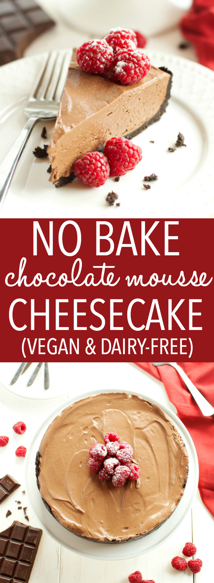 This No Bake Chocolate Mousse Cheesecake is the ultimate vegan and dairy-free chocolate dessert that's so smooth and creamy, made with a secret ingredient! Recipe from thebusybaker.ca #vegancheesecake #veganchocolatedessert #dairyfreedessert #dairyfreecheesecake #besteverchocolatecheesecake via @busybakerblog