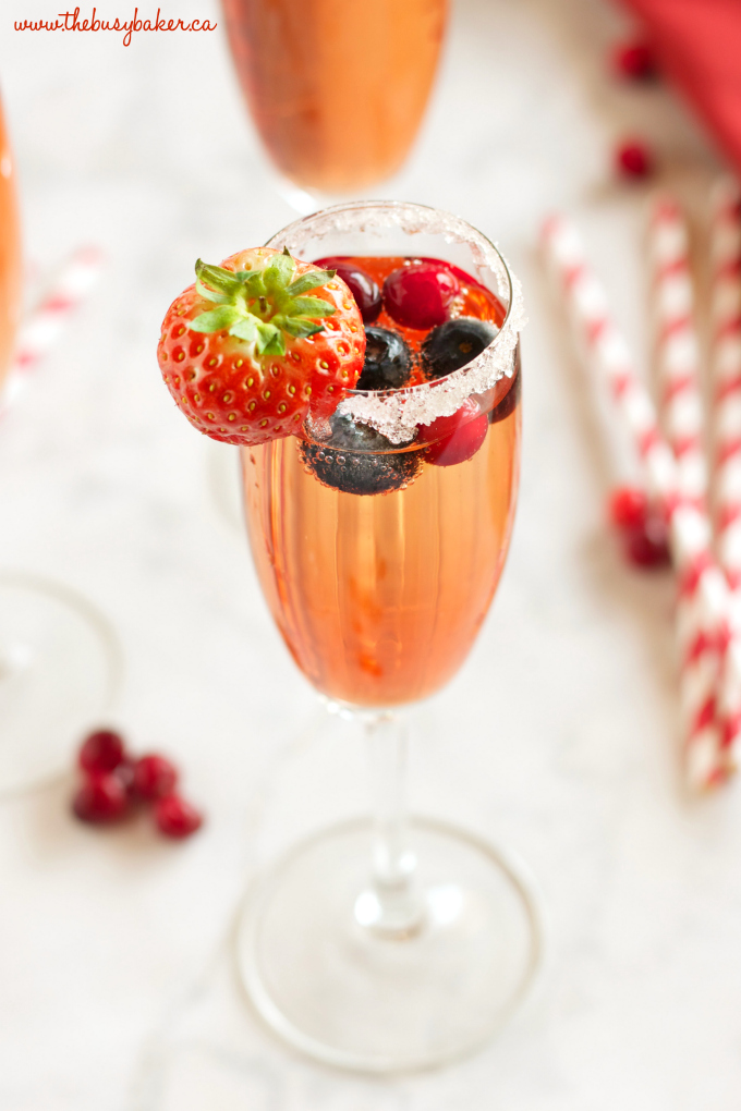 This Sparkling Winter Berry Holiday Cocktail is the perfect drink recipe for holiday parties! It's bursting with winter flavours, and it's so easy to make! Recipe from thebusybaker.ca #holidaycocktail #holidaymocktail #holidaypunch #christmasdrink