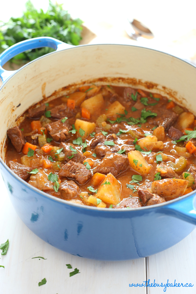 This Best Ever One Pot Beef Stew is an easy, classic beef stew recipe that cooks to perfection on the stove top and in the oven. It's the best comfort food! Recipe from thebusybaker.ca #comfortfood #bestbeefstewrecipe #besteverbeefstew #easybeefstew #winterstew #soup