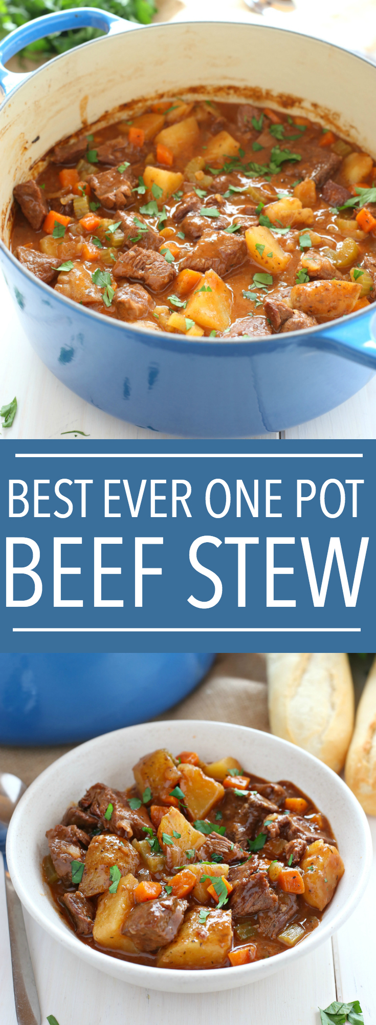 This Best Ever One Pot Beef Stew is an easy, classic beef stew recipe that cooks to perfection on the stove top and in the oven. It's the best comfort food! Recipe from thebusybaker.ca #comfortfood #bestbeefstewrecipe #besteverbeefstew #easybeefstew #winterstew #soup via @busybakerblog