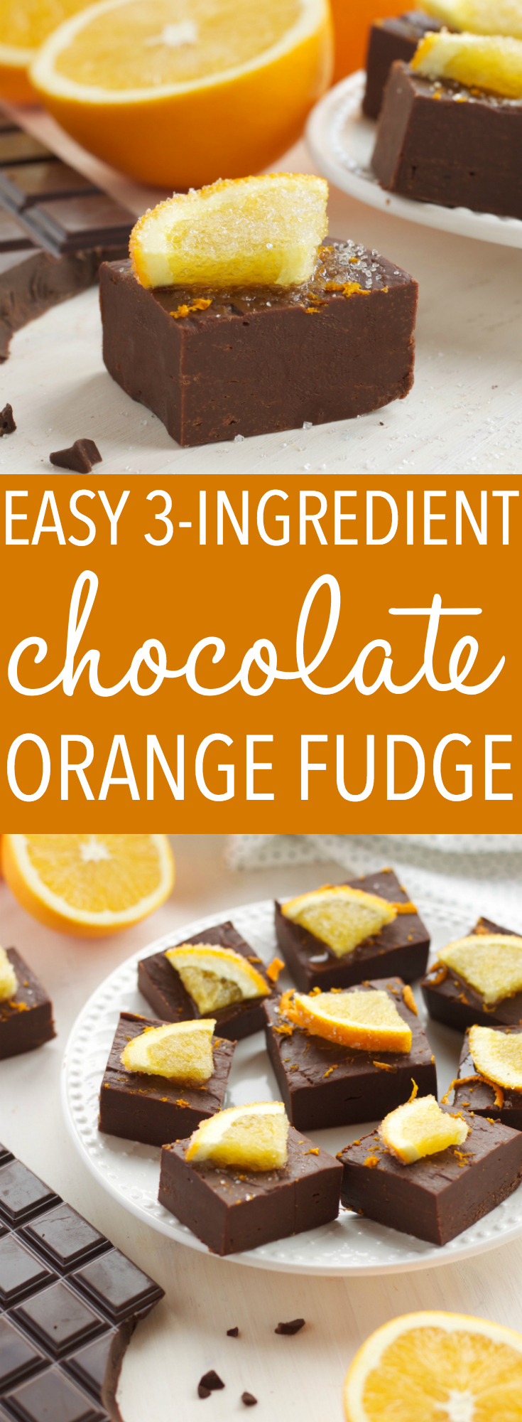 This Easy 3-Ingredient Chocolate Orange Fudge is the perfect Christmas treat for the holidays that's easy to make in just minutes! Recipe from thebusybaker.ca! #chocolatefudge #homemadefudge #easyfudgerecipe #christmasfudgerecipe #chocolateorange via @busybakerblog