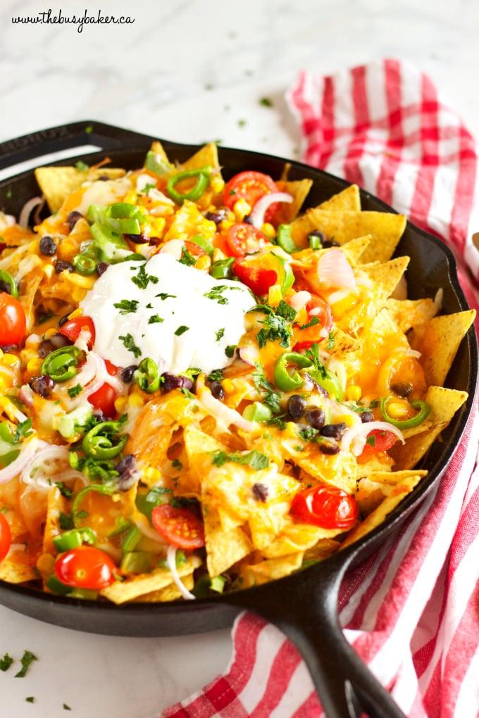 vegetarian nachos in skillet with healthy vegetables