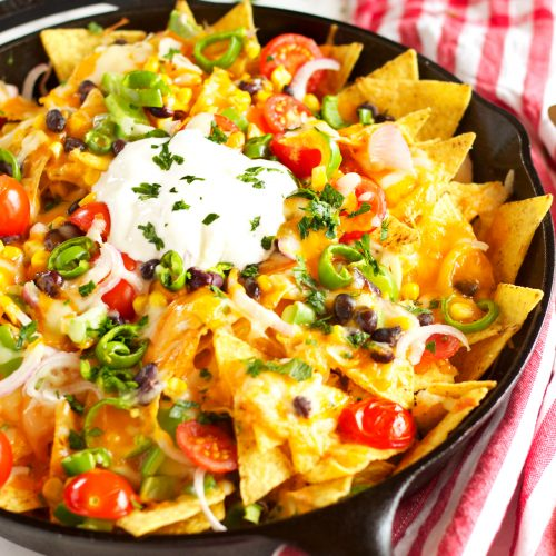 healthy vegetarian nachos with rainbow vegetables the busy baker