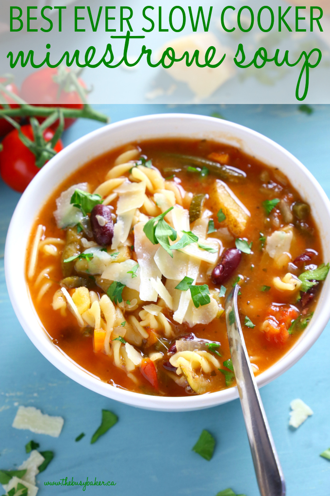 This Best Ever Slow Cooker Minestrone Soup is thick, comforting, and packed full of vegetables! It's so flavourful and easy to make, and it's the perfect way to warm up on a cold day! Recipe from thebusybaker.ca! #minestronesoup #slowcookersoup #slowcookerminestrone #besteverminestrone