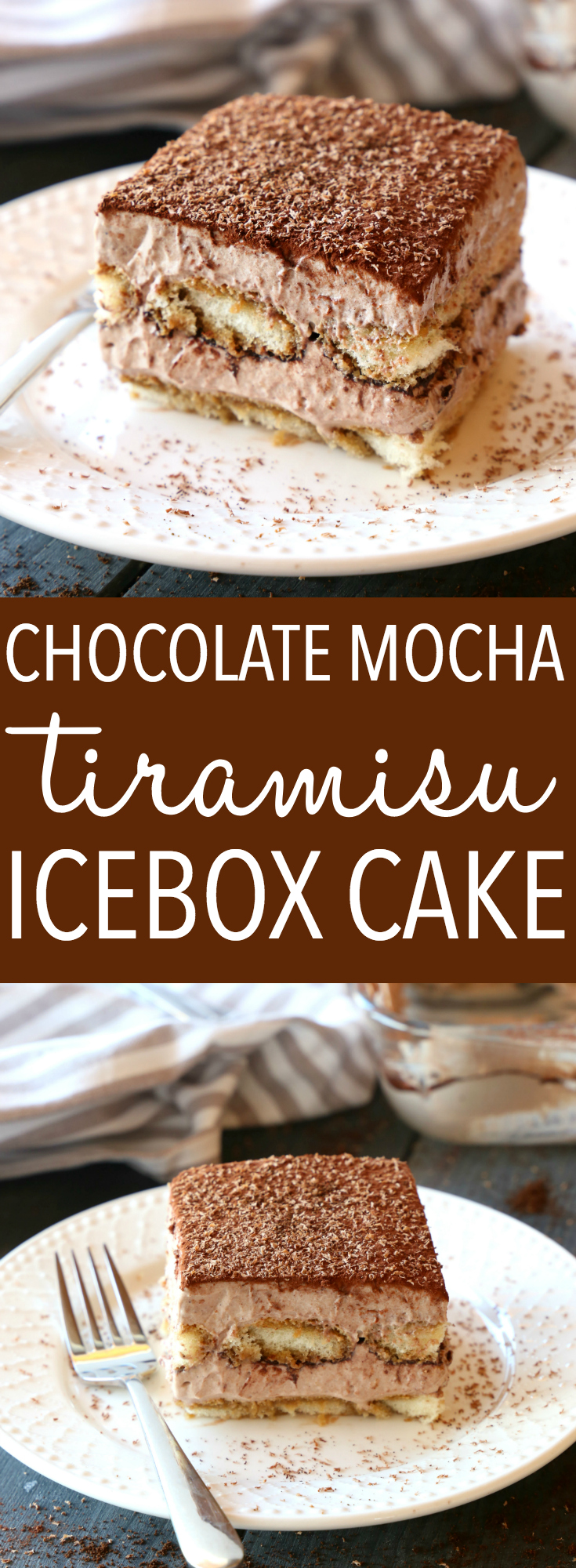 This Chocolate Mocha Tiramisu Icebox Cake is the perfect easy no bake dessert for coffee and chocolate lovers! Made with simple, basic ingredients and bursting with deep chocolate and coffee flavours, this is a no bake dessert that's a definite crowd pleaser! Recipe from thebusybaker.ca! #easytiramisurecipe #chocolatetiramisu #nobaketiramisu #nobakecoffeedessert via @busybakerblog