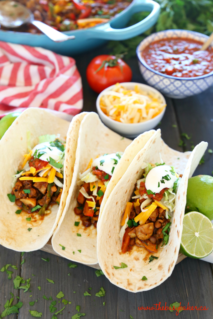 These Meal Prep Vegetarian Tacos are the perfect healthy meal prep solution for busy weeks! Make this delicious, family friendly veggie packed lentil taco filling and serve it in soft tacos, over salad, in lettuce wraps, and even for breakfast! Recipe from thebusybaker.ca! #LoveLentils #getPrepped #vegetariantacos #easyvegetarianrecipe