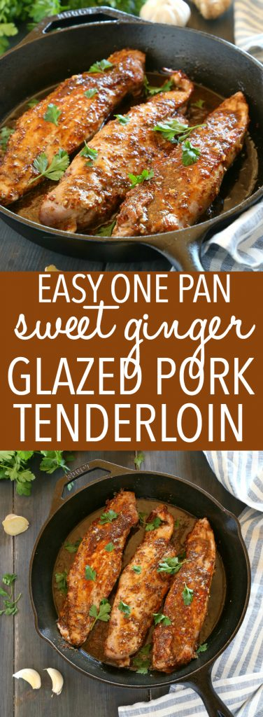 This Easy One Pan Sweet Ginger Glazed Pork Tenderloin is perfectly tender and juicy, cooked to perfection with a sweet ginger glaze! Made from basic ingredients you probably already have in your kitchen, this will quickly become one of your favourite ways to enjoy pork! Recipe from thebusybaker.ca! #easyporktenderloin #asianpork #gingerglazedpork